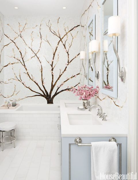 Mural Bathroom - Cherry Blossom Tile Mural