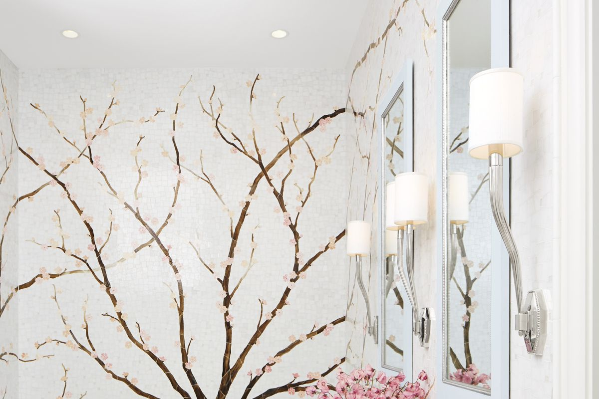Inside a Bathroom Where an Elegant Mural Is the Star
