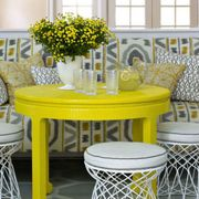 Room, Yellow, Interior design, Floor, Table, Furniture, Home, Wall, Flooring, Interior design,