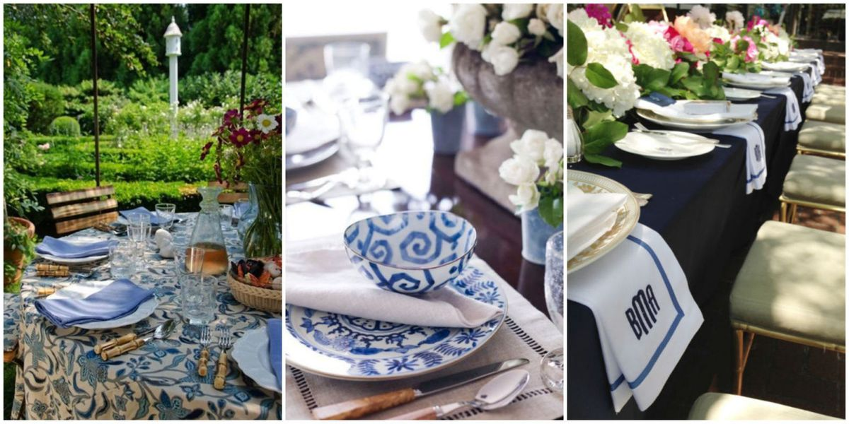 Blue And White Dishes Table Settings Tablescapes Decorations In