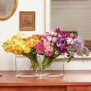 Pink, Room, Yellow, Purple, Wall, Mirror, Furniture, Table, Flower, Interior design,
