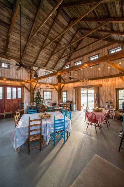 Room, Furniture, Ceiling, Interior design, Beam, Floor, Hall, Hardwood, Daylighting, Inn,