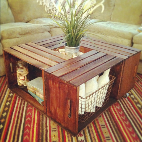 """<p>Flipped on their sides, four wooden bins turn into an architecturally <a href=""""http://natipernavigare.info/home-remodeling/diy-projects/g2391/coffee-table-alternatives"""" target=""""_blank"""">cool table</a> and provide extra cubbies.</p><p><a target=""""_blank"""" href=""""http://www.hometalk.com/3169908/coffee-table-from-crates""""><em>See more at Hometalk »</em></a></p>"""