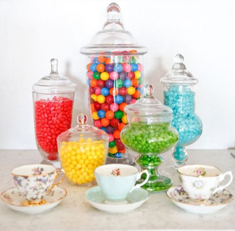 Though Pansino wanted a clean, neutral backdrop for filming, she and Lemieux made sure to include a few colorful touches that could be swapped out and rearranged to keep the kitchen looking interesting, like vintage teacups and candy jars. Pansino's color inspiration for all of the accessories? Rainbow sprinkles.