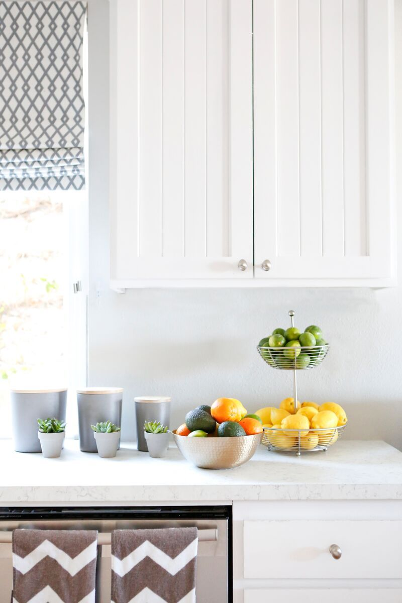 """Pansino's old kitchen had shiny granite countertops, which made filming a hassle. """"We had to shoot food and instructional scenes really close-up, because the counters were so reflective — they showed everything,"""" she says. Lemieux replaced them with a cork surface and made sure all of the paint finishes were matte, so there would be zero glare on camera."""