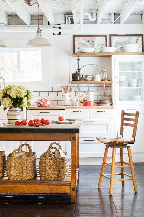 Wood, Room, Interior design, Ceiling, Light fixture, Floor, Interior design, Kitchen appliance, Grey, Kitchen,