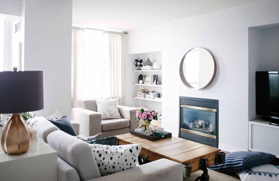 Condo Living Room.  Open Floor Plan Condo Decor Modern Neutral