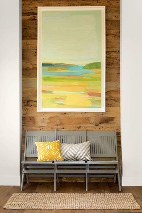 Wood, Green, Yellow, Room, Wall, Interior design, Furniture, Hardwood, Floor, Flooring,