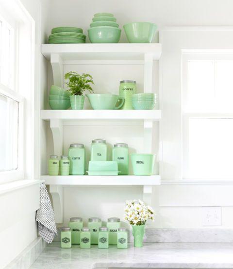 Green, Shelving, Room, White, Dishware, Serveware, Teal, Aqua, Turquoise, Shelf,