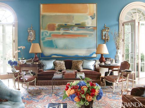 Blue, Room, Interior design, Living room, Furniture, Home, Table, Wall, Interior design, Couch,