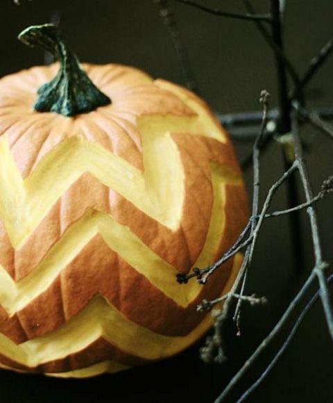 Chevron Carved Pumpkin
