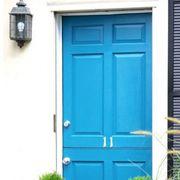 Green, Door, Home door, House, Fixture, Flowerpot, Door handle, Teal, Molding, Wood stain,
