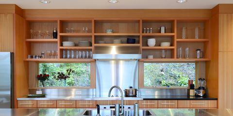 Wood, Room, Interior design, Property, Kitchen, Cupboard, Kitchen appliance, Glass, Kitchen sink, Home appliance,