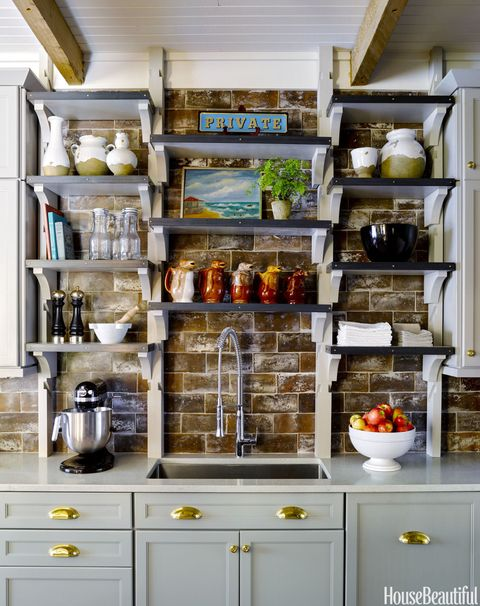 faux brick backsplash in kitchen