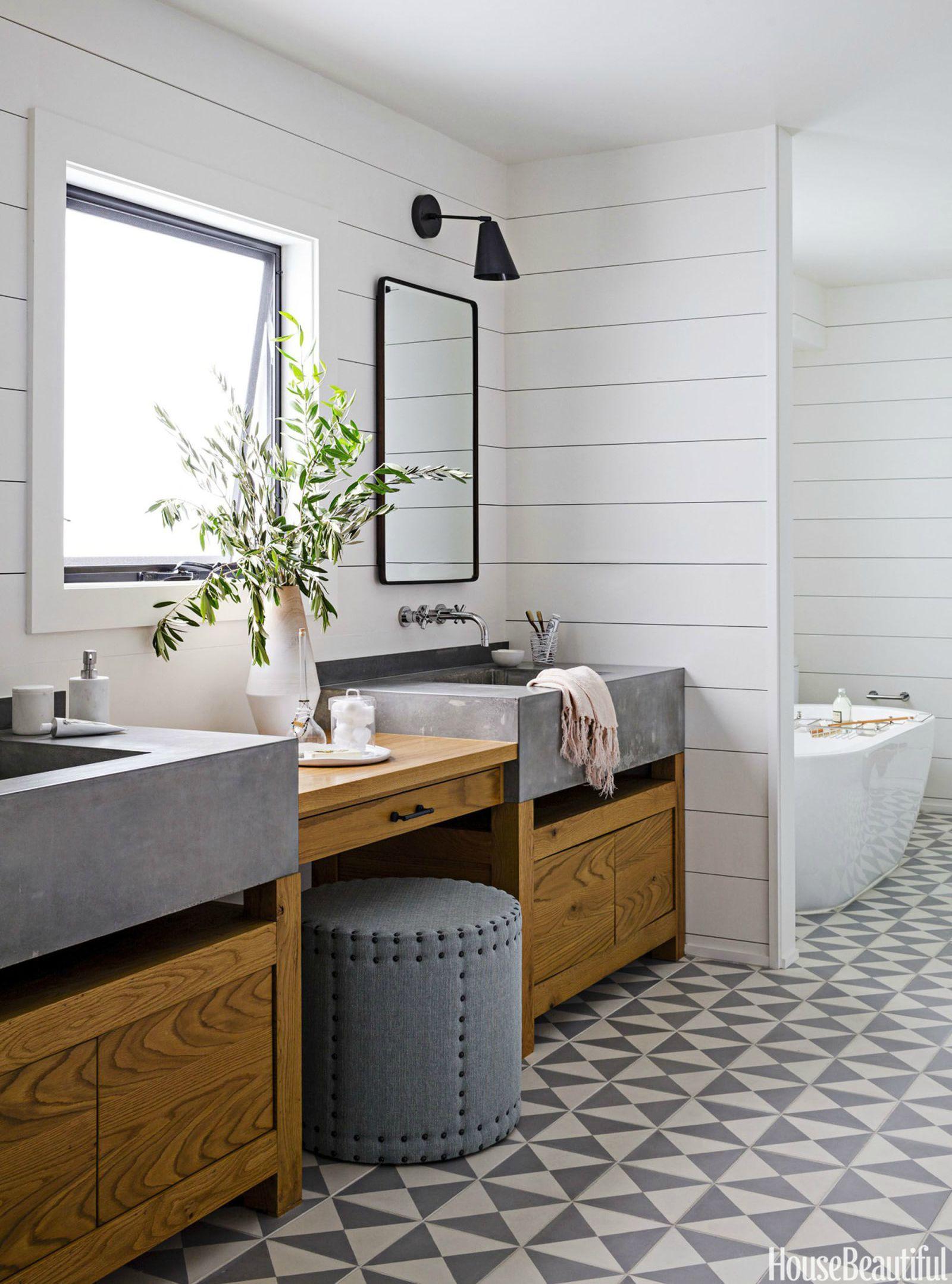 shiplap bathroom & 30+ Bathroom Tile Design Ideas - Tile Backsplash and Floor Designs ...