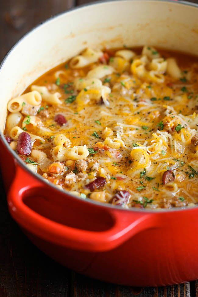 "<p>Why have we waited this long to combine two of our FAVORITE fall meals?</p><p>Get the recipe from <a href=""http://damndelicious.net/2014/03/15/one-pot-chili-mac-cheese/"" target=""_blank"">Damn Delicious</a>.</p>"
