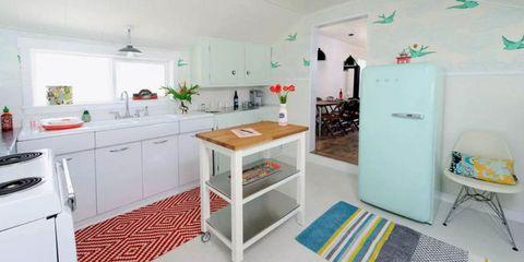 Room, Green, Floor, Interior design, Flooring, White, Ceiling, Cabinetry, Home, Major appliance,