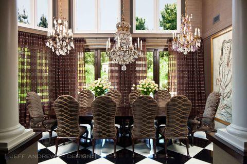 Interior design, Room, Floor, Interior design, Light fixture, Chandelier, Chair, Column, Houseplant, Molding,
