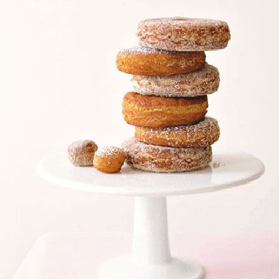 """<p>Watch how quickly doughnuts disappear, particularly when they're dusted with a variety of delectable sugar coatings: maple, confectioners', or cinnamon spice.</p> <p><b>Recipe: <a href=""""http://www.delish.com/recipefinder/apple-cider-doughnuts"""" target=""""_blank"""">Apple-Cider Doughnuts</a></b></p>"""