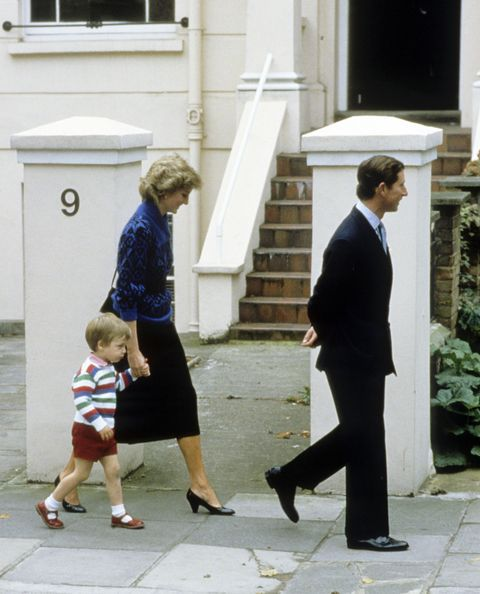 Prince William, accompanied by his parents Prince Charles, Prince of Wales and Princess Diana, Princess of Wales arrive for his first day at Mrs. Mynor's Nursery School on September 24, 1985 in London, England.