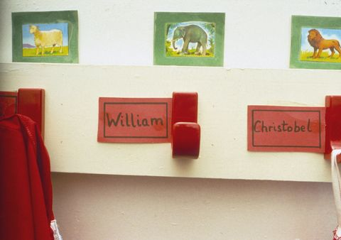 Mrs. Mynor's Nursery School - Where Prince William Began His Education. Prince William's Coat Peg With His Name 'william' Next To A Friend 'christobel' At Mrs Mynor's Nursery School
