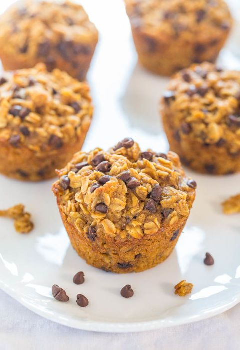 "<p>There's oats in there for some extra nourishment.</p><p>Get the recipe from <a href=""http://www.averiecooks.com/2014/11/oatmeal-to-go-pumpkin-chocolate-chip-muffins.html"">Sally's Baking Addiction</a>.</p>"