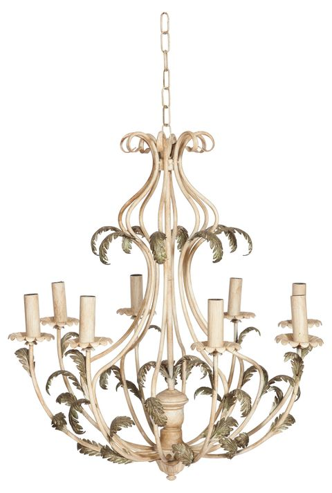 "<p>This painted chandelier features eight lights and ornate, fern-like detailing. It has long been a fixture in Martin's home. ""This hung over our dining table for years. Then it hung over my desk,"" he reveals.</p>"