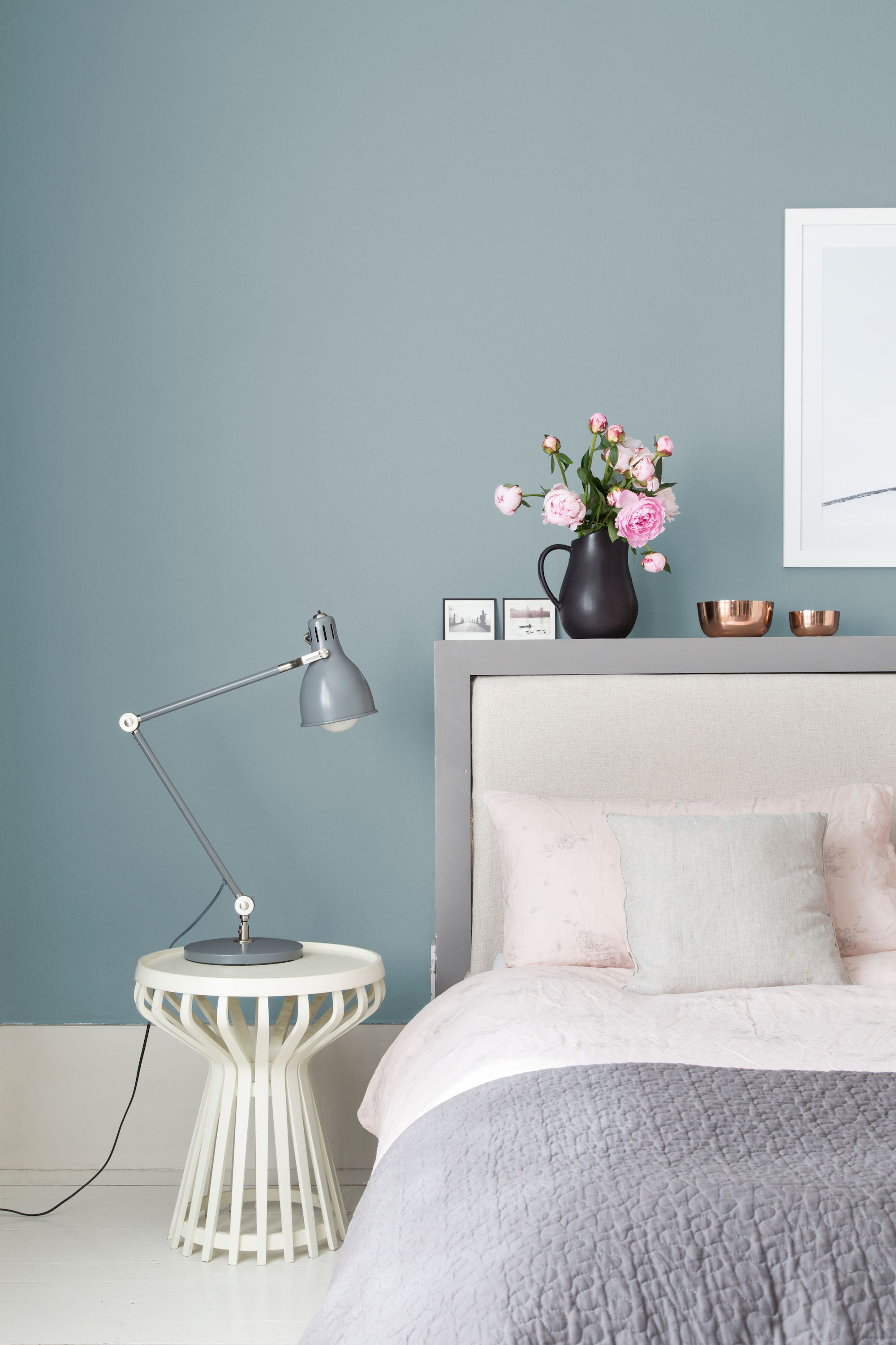 A Bedroom Painted In Woodlawn Silver Brook Is Serene, Yet Unexpected.  Courtesy Of Valspar