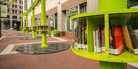 Window, Neighbourhood, Shelf, Shelving, Urban design, Residential area, Publication, Condominium, Bookcase, Sidewalk,