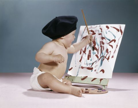 French artist baby in beret