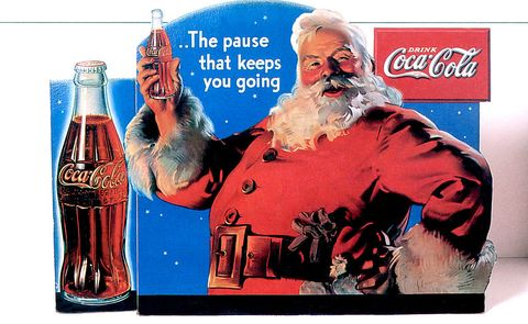 Publicity of Christmas for Coca cola, publishing in 1934 and realised by Haddon Sundblom who works for Coca in 1931 to 1960