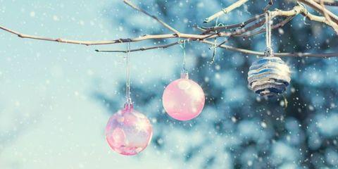 Blue, Pink, Colorfulness, Magenta, Lavender, Aqua, Christmas decoration, Twig, Ornament, Sphere,