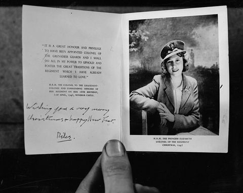 1942: A Christmas card from Princess Elizabeth (later Queen Elizabeth II of Great Britain) to the Grenadier Guards regiment of the British Army.