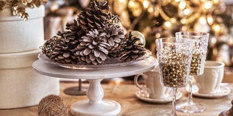 Serveware, Drinkware, Dishware, Conifer cone, Tableware, Natural material, Barware, Plate, Interior design, Christmas decoration,