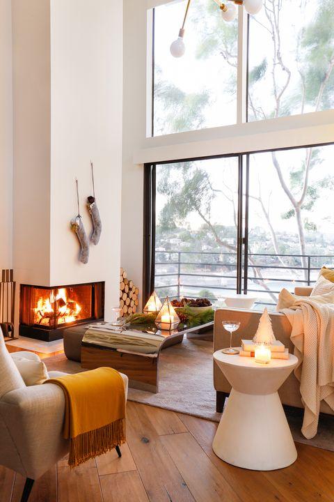 Wood, Interior design, Room, Yellow, Floor, Home, Furniture, Couch, Flooring, Orange,