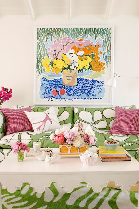 cheerful green pink and white living room