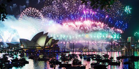Event, Pink, Purple, Night, Fireworks, Cityscape, Midnight, Reflection, World, Holiday,