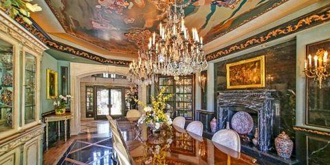 Interior design, Room, Property, Ceiling, Floor, Interior design, Table, Furniture, Light fixture, Chandelier,