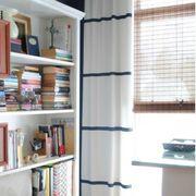 Room, Interior design, Shelf, Shelving, Wall, Bookcase, Window treatment, Mesh, Publication, Book,