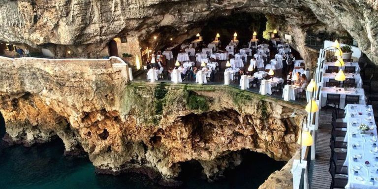 Grotta Palazzese Hotel Cave Restaurant Italian Restaurant - Restaurant built inside a cave in italy offers beautiful views as you dine