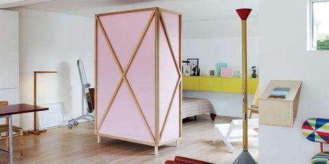 pink wardrobe wall divider