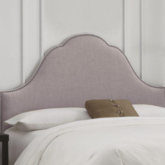 all modern Skyline Furniture Linen Nail Button Arch Upholstered Headboard