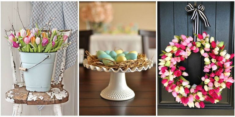 with white tulips and elegant ribbon or go egg centric and add babys breath or fragrant florals to a wicker basket weve got a fresh batch of ideas - Easter Decorating Ideas