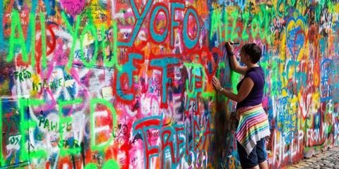 Blue, Yellow, Graffiti, Colorfulness, Red, Wall, Paint, Artist, Majorelle blue, Art,