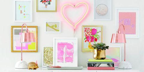 Room, Pink, Interior design, Petal, Magenta, Flowerpot, Home accessories, Teal, Picture frame, Peach,