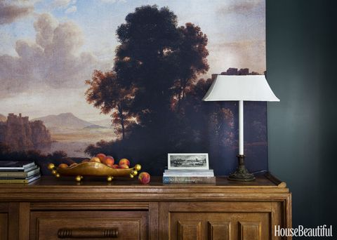 Sideboard, Lampshade, Still life photography, Tints and shades, Cabinetry, Artwork, Wood stain, Lamp, Paint, Art paint,