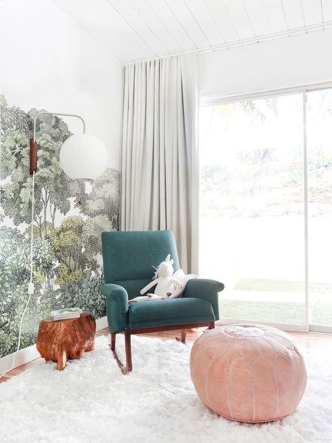 Room, Interior design, Textile, Interior design, Home, Teal, Living room, Lamp, Window treatment, Peach,