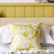 Room, Yellow, Interior design, Property, Bedding, Textile, Bedroom, Wall, Bed sheet, Linens,