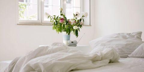 Room, Window, Interior design, Bed, Bedding, Textile, Bed sheet, Bedroom, Linens, Petal,