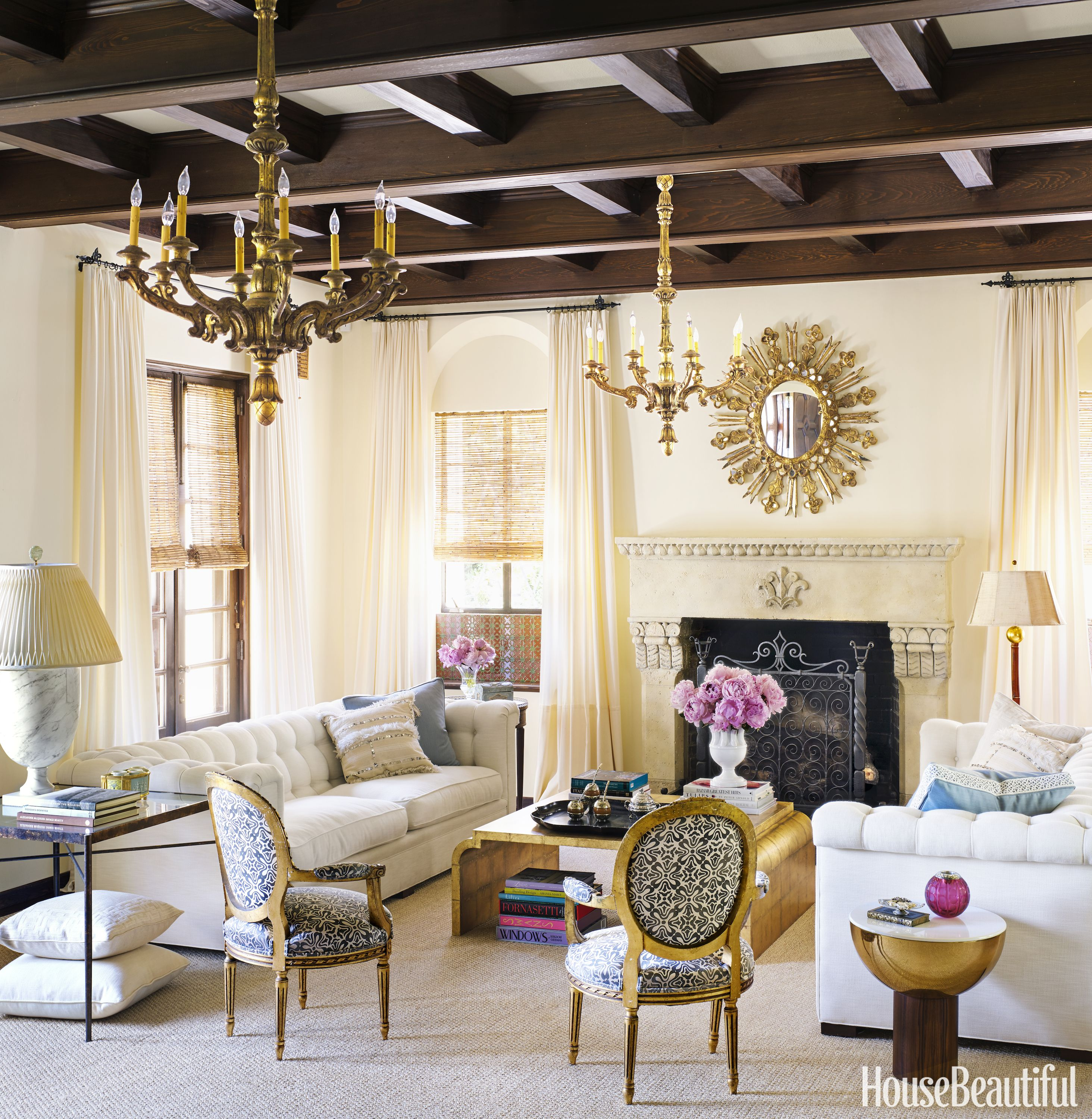 Spanish Colonial Living Room With Fireplace